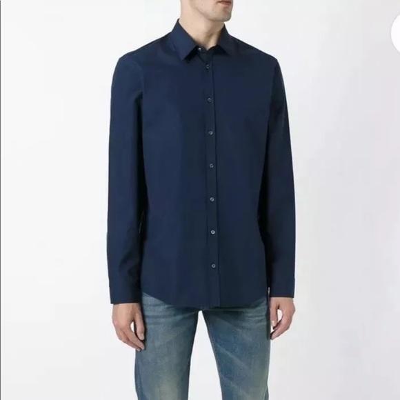 22f95c3ec5d GUCCI Navy Button Down Cotton Poplin Shirt